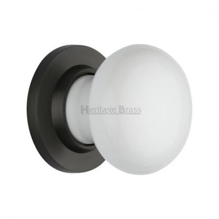 Heritage Brass Plain White Porcelain Mortice Knob on Rose 5010