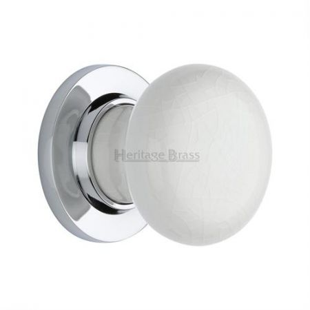 Heritage Brass White Crackle Porcelain Mortice Knob on Rose 7010