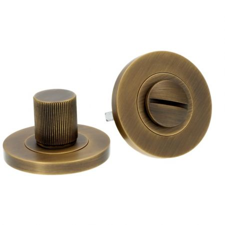 Alexander and Wilks Reeded Thumbturn and Release Antique Brass