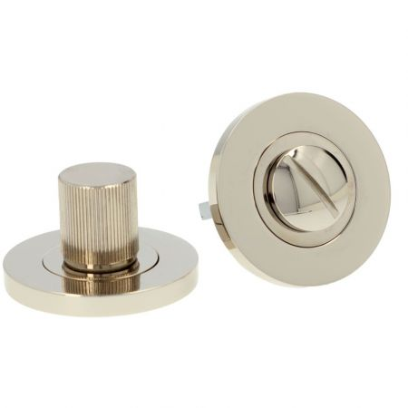 Alexander and Wilks Reeded Thumbturn and Release  PVD Polished Nickel