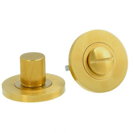 Alexander and Wilks Reeded Thumbturn and Release Satin Brass PVD