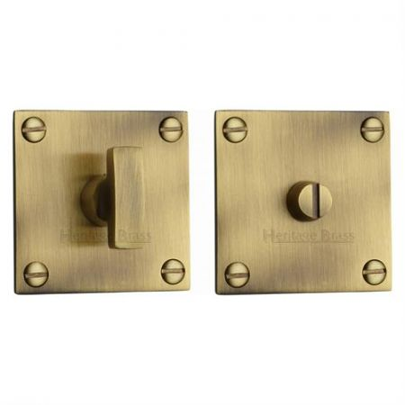 Heritage Brass Square Bathroom Turn and Release BAU1555 Antique Brass