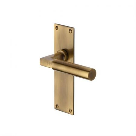 Heritage Brass Bauhaus Handle on Backplate Antique Brass
