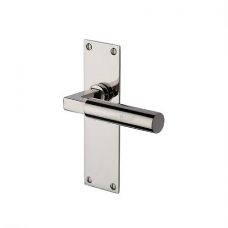 Heritage Brass Bauhaus Handle on Backplate Polished Nickel