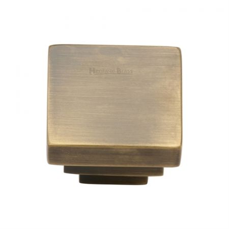 Heritage Brass Square Stepped Design Cabinet Knob C3672 Antique Brass
