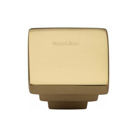 Heritage Brass Square Stepped Design Cabinet Knob C3672 Polished Brass