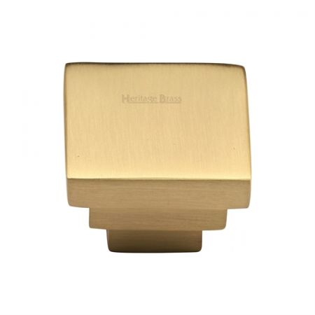 Heritage Brass Square Stepped Design Cabinet Knob C3672 Satin Brass