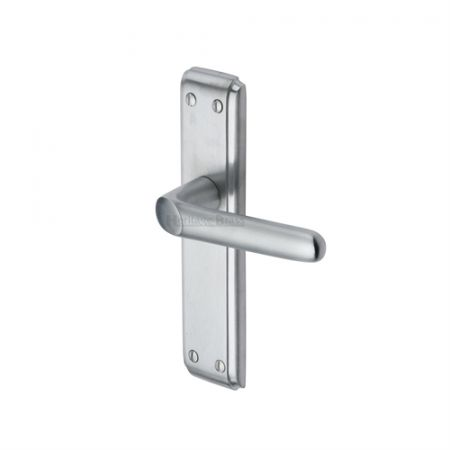 Heritage Brass Deco Handle on Backplate Satin Chrome