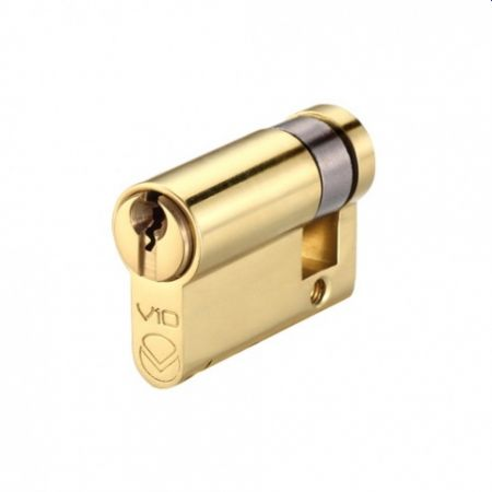 V10 Euro Profile Half Cylinder Polished Brass