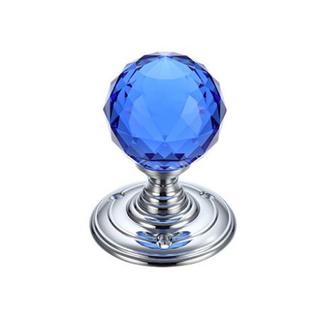 Fulton and Bray FB301 Blue Facetted Glass Mortice Knob on Polished Chrome Rose