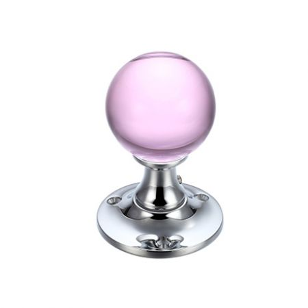 Fulton and Bray FB400 Pink Glass Mortice Knob on Polished Chrome Rose