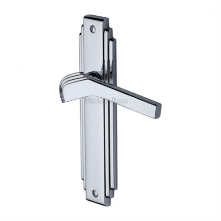 Heritage Brass Tiffany Handle on Backplate Polished Chrome