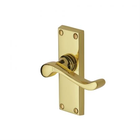 Heritage Brass Bedford Handle on Short Backplate Polished Brass