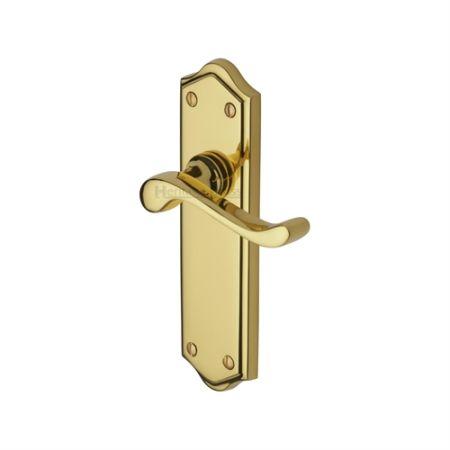 Heritage Brass Buckingham Handle on Backplate Polished Brass