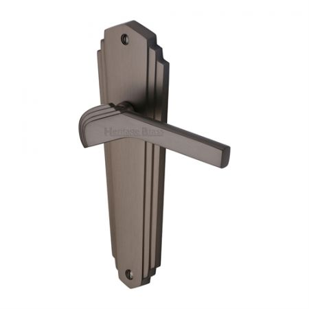 Heritage Brass Waldorf Handle on Backplate Matt Bronze