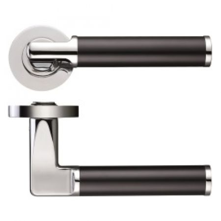 Zoo ZPZ030 Milan Handle on Rose Polished Chrome/Black Aluminium Steel Dual Finish