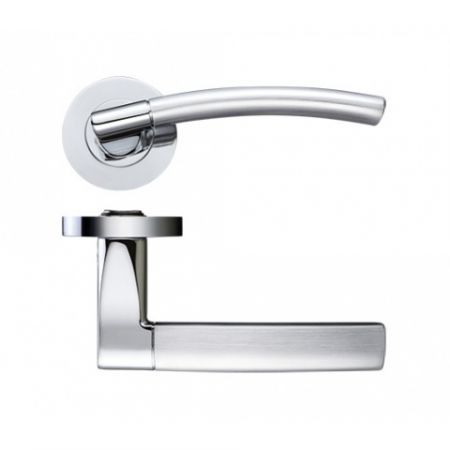 Zoo ZPZ080 Amalfi Handle on Rose Satin/Polished Chrome Dual Finish